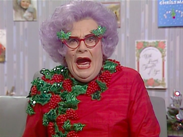 Barry Humphries as Dame Edna, from The Dame Edna Christmas Experience.