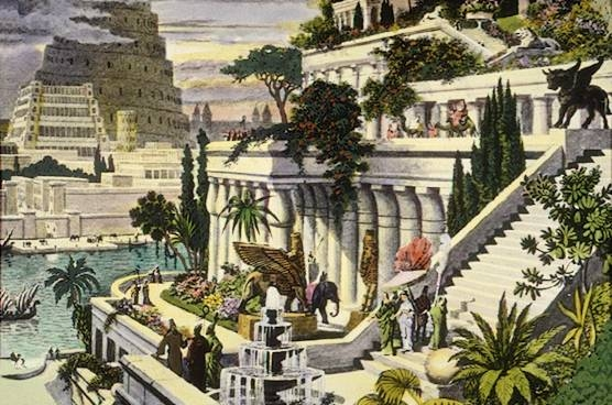 19th century hand-coloured engraving of the Hanging Gardens of Babylon, which are most likely mythical, but a very beautiful idea nonetheless.