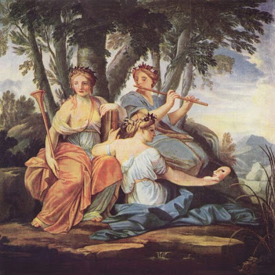 Eustache Le Sueur; Clio, Euterpe, and Thalia (three muses), c. 1652-1655, The Louvre