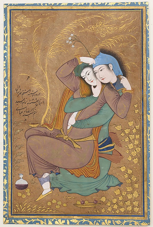 Riza-yi `Abbasi (ca. 1565–1635), The Lovers, Persian Date: dated A.H. 1039/ A.D. 1630 Metropolitan Museum of Art, Islamic Collection