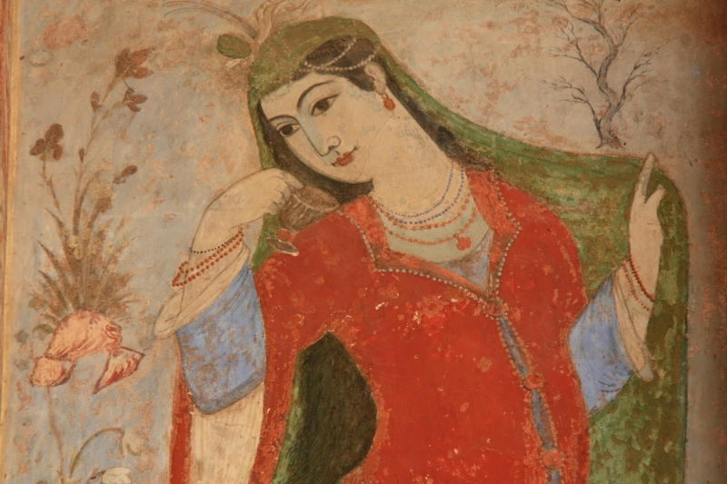 Decorative painting in the 16th century Ali Qapu Palace, Isfahan, which was built for Shah Abbas in the 16th century.